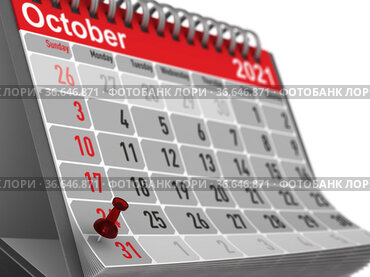 red pin marking halloween day on calendar on white background. Isolated 3D illustration