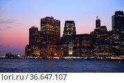Skyscrapers of Southernmost tip of Manhattan at night, New York City. Стоковое фото, фотограф Валерия Попова / Фотобанк Лори