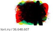 Silhouette of female handball player against multicolor brush strokes on white background. Стоковое фото, агентство Wavebreak Media / Фотобанк Лори