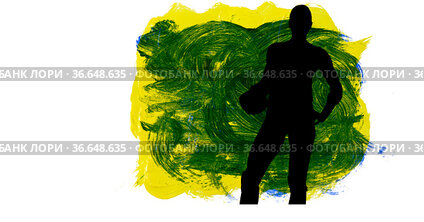 Silhouette of female handball player against yellow and green paint brush strokes