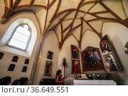 Interior of the chapel dedicated to Saint Anna. On the altar a valuable... Редакционное фото, фотограф Angelo Calvino / age Fotostock / Фотобанк Лори
