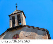 Bell tower of the chapel dedicated to Saint Anna, Castel Presule / ... Стоковое фото, фотограф Angelo Calvino / age Fotostock / Фотобанк Лори