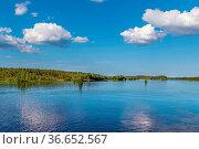 Landscape on the river Vyg (part of the White Sea-Baltic Canal), Russia... Стоковое фото, фотограф Zoonar.com/Boris Breytman / easy Fotostock / Фотобанк Лори