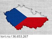 Karte und Fahne von Tschechien auf altem Leinen - Map and flag of... Стоковое фото, фотограф Zoonar.com/lantapix, / easy Fotostock / Фотобанк Лори