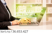 ACCESS CONTROL inscription on laptop, internet security and data protection... Стоковое фото, фотограф Zoonar.com/rancz / easy Fotostock / Фотобанк Лори