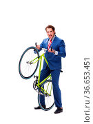 Businessman with bicycle isolated on white background. Стоковое фото, фотограф Zoonar.com/Elnur Amikishiyev / easy Fotostock / Фотобанк Лори