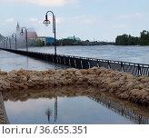 Magdeburg-Schleinufer beim Elbe Hochwasser 2013. Стоковое фото, фотограф Zoonar.com/Axel Kammerer / age Fotostock / Фотобанк Лори