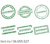 Saturday Stempel - Saturday stamps. Стоковое фото, фотограф Zoonar.com/Robert Biedermann / easy Fotostock / Фотобанк Лори
