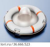 Condom inside lifebelt on gray surface. 3D illustration. Стоковое фото, фотограф Zoonar.com/Cigdem Simsek / easy Fotostock / Фотобанк Лори