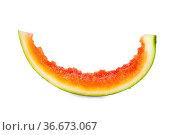 Stück einer reifen Wassermelone aufgegessen isoliert vor weißem Hintergrund... Стоковое фото, фотограф Zoonar.com/Thomas Klee / easy Fotostock / Фотобанк Лори