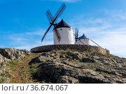 A view of traditional whitewashed Spanish windmills in La Mancha on... Стоковое фото, фотограф Zoonar.com/Nando Lardi / easy Fotostock / Фотобанк Лори