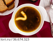 Mushroom soup with mayonaise with bread and serving pieces. Стоковое фото, фотограф Яков Филимонов / Фотобанк Лори