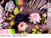 Handmade DIY making realistic flowers from foam. Стоковое фото, фотограф Zoonar.com/Oksana Shufrych / easy Fotostock / Фотобанк Лори