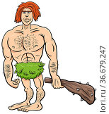 Cartoon illustration of funny prehistoric man stone age character. Стоковое фото, фотограф Zoonar.com/Igor Zakowski / easy Fotostock / Фотобанк Лори