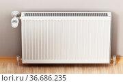 Radiator with adjustable thermostat. Generic design. 3D illustration. Стоковое фото, фотограф Zoonar.com/Cigdem Simsek / easy Fotostock / Фотобанк Лори