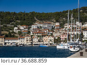 Hvar, Croatia Boats in the Hvar harbour. Стоковое фото, фотограф A. Farnsworth / age Fotostock / Фотобанк Лори