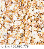 Square food background - oat flakes with rye bran close up. Стоковое фото, фотограф Zoonar.com/Valery Voennyy / easy Fotostock / Фотобанк Лори