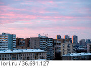 Pink clouds in blue sky over apartment houses in Moscow city at dusk. Стоковое фото, фотограф Zoonar.com/Valery Voennyy / easy Fotostock / Фотобанк Лори