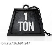 1 ton weight isolated on white background. 3D illustration. Стоковое фото, фотограф Zoonar.com/Cigdem Simsek / easy Fotostock / Фотобанк Лори