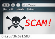 Internet scam browser page with jolly roger. 3D illustration. Стоковое фото, фотограф Zoonar.com/Cigdem Simsek / easy Fotostock / Фотобанк Лори