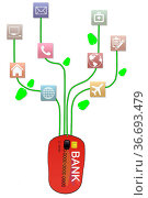 A graphic depicting E-commerce services available through net banking... Стоковое фото, фотограф IndiaPix / easy Fotostock / Фотобанк Лори