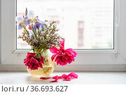 Withered flowers in glass vase on window sill at home with cityscape... Стоковое фото, фотограф Zoonar.com/Valery Voennyy / easy Fotostock / Фотобанк Лори