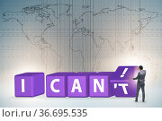 Determination concept with rotating cubes and businessman. Стоковое фото, фотограф Elnur / Фотобанк Лори
