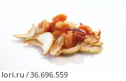 Handful of sweet natural organic dried fruits. Стоковое видео, видеограф Peredniankina / Фотобанк Лори