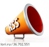 Orange megaphone with RSS text isolated on white background. 3D illustration... Стоковое фото, фотограф Zoonar.com/Cigdem Simsek / easy Fotostock / Фотобанк Лори