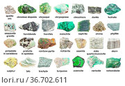 Set of various green unpolished stones with names (variscite, turquoise... Стоковое фото, фотограф Zoonar.com/Valery Voennyy / easy Fotostock / Фотобанк Лори