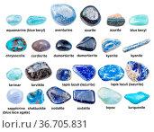 Collage of various blue gemstones with names (shattuckite, kyanite... Стоковое фото, фотограф Zoonar.com/Valery Voennyy / easy Fotostock / Фотобанк Лори