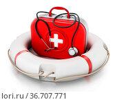First aid kit standing on life saver. 3D illustration. Стоковое фото, фотограф Zoonar.com/Cigdem Simsek / easy Fotostock / Фотобанк Лори
