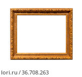 Old wide wooden carved picture frame with cut out canvas isolated... Стоковое фото, фотограф Zoonar.com/Valery Voennyy / easy Fotostock / Фотобанк Лори