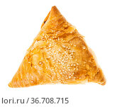 Baked Samsa (savoury pastry stuffed with minced meat and chopped onion... Стоковое фото, фотограф Zoonar.com/Valery Voennyy / easy Fotostock / Фотобанк Лори