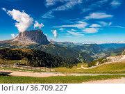 Great view on the Sassolungo - Langkofel group, valley Gardena. National... Стоковое фото, фотограф Zoonar.com/Rudolf Ernst / easy Fotostock / Фотобанк Лори