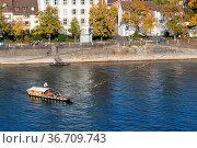 Basel, Switzerland - October 24, 2016: Historic passenger ferry crossing... Стоковое фото, фотограф Zoonar.com/Oliver Foerstner / easy Fotostock / Фотобанк Лори