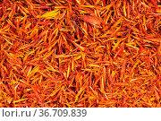 Food background - many dried safflower petals. Стоковое фото, фотограф Zoonar.com/Valery Voennyy / easy Fotostock / Фотобанк Лори