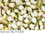 Food background - many dried jasmine flowers. Стоковое фото, фотограф Zoonar.com/Valery Voennyy / easy Fotostock / Фотобанк Лори