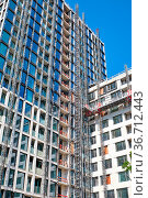 Bau eines Wohnhochhauses, gesehen in Berlin, Deutschland. Стоковое фото, фотограф Zoonar.com/elxeneize / easy Fotostock / Фотобанк Лори