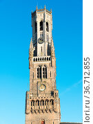 The Belfry Tower, aka Belfort, of Bruges, medieval bell tower in the... Стоковое фото, фотограф Zoonar.com/Yuri Dmitrienko / easy Fotostock / Фотобанк Лори