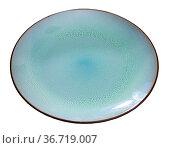 Blue ceramic plate with black edging. Стоковое фото, фотограф Яков Филимонов / Фотобанк Лори