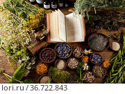 Natural medicine on wooden table background. Стоковое фото, фотограф Zoonar.com/Sebastian Duda / age Fotostock / Фотобанк Лори