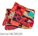Folded stitched red brown patchwork scarf isolated on white background. Стоковое фото, фотограф Zoonar.com/Valery Voennyy / easy Fotostock / Фотобанк Лори