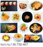 Assorted salmon dishes on a white background. Стоковое фото, фотограф Яков Филимонов / Фотобанк Лори