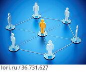 Connected people with a stand out figure at the center. 3D illustration... Стоковое фото, фотограф Zoonar.com/Cigdem Simsek / easy Fotostock / Фотобанк Лори