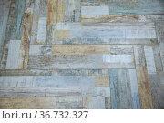 Floor tiles imitating natural aged various wooden boards. Стоковое фото, фотограф Ольга Зиновская / Фотобанк Лори