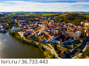 Historic center of Jindrichuv Hradec. Стоковое фото, фотограф Яков Филимонов / Фотобанк Лори