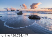 Oregon Coastal Seastacks with tidal flow and wave action. The Sea Stacks are a protected home to thousands of sea birds, off Face Rock State Scenic Viewpoint, Bandon, Oregon, USA. Стоковое фото, фотограф Jack Dykinga / Nature Picture Library / Фотобанк Лори