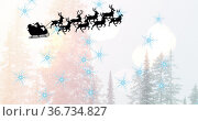 Image of christmas winter scenery and santa in sleigh. Стоковое фото, агентство Wavebreak Media / Фотобанк Лори