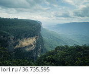 Blue Mountains viewpoint from the Wentworth Falls lookout, Wentworth... Стоковое фото, фотограф Mehul Patel / age Fotostock / Фотобанк Лори